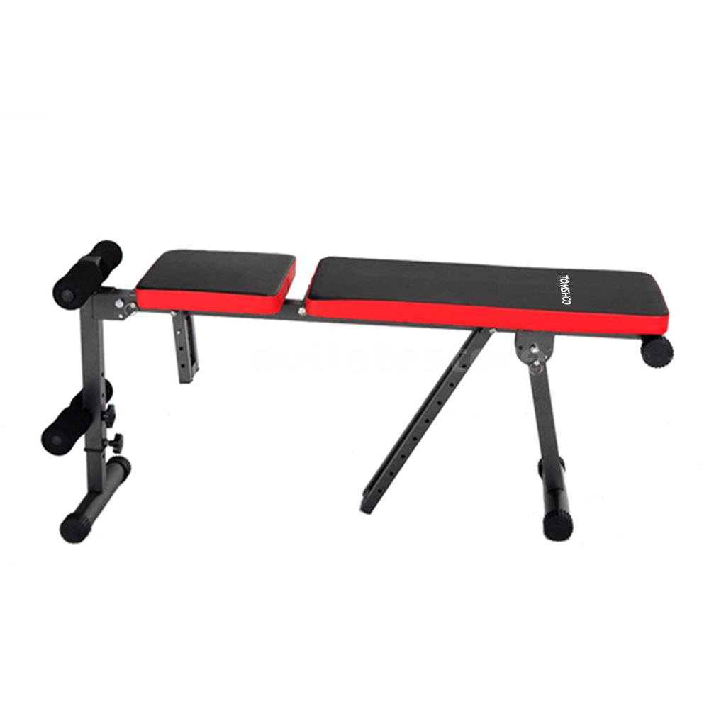 Foldable flat incline fitness exercise ab bench gym workout dumbbell weight red Abs bench