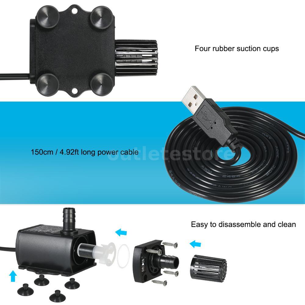 Decdeal USB DC5V 2.4W Ultra-quiet Mini Brushless Water Pump Waterproof U6U3