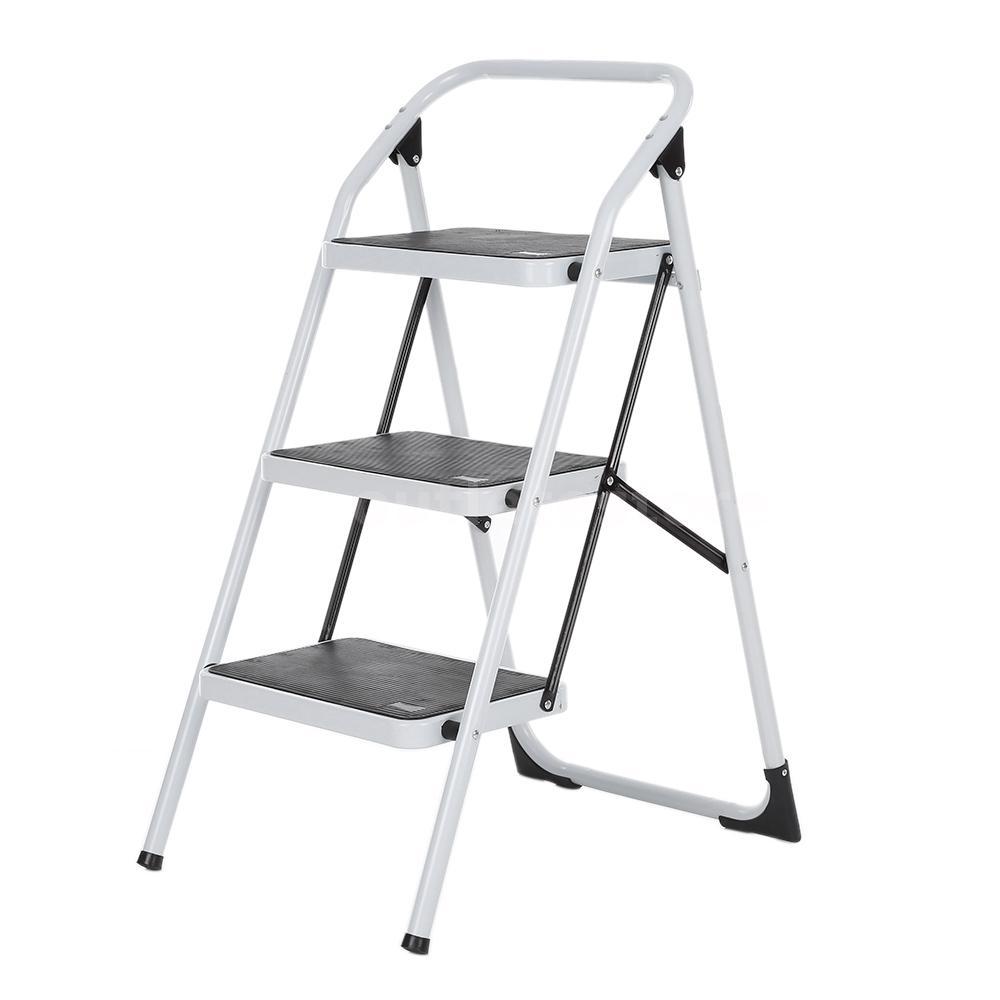 3 Step Ladder Folding Non Slip Safety Tread Heavy Duty