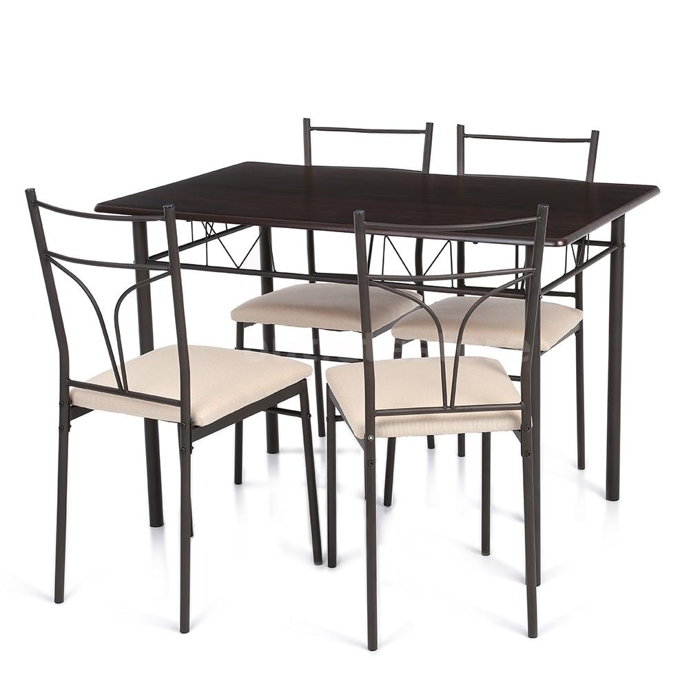 5 piece metal frame kitchen breakfast dining set 4 chairs for Kitchen table and 4 chairs