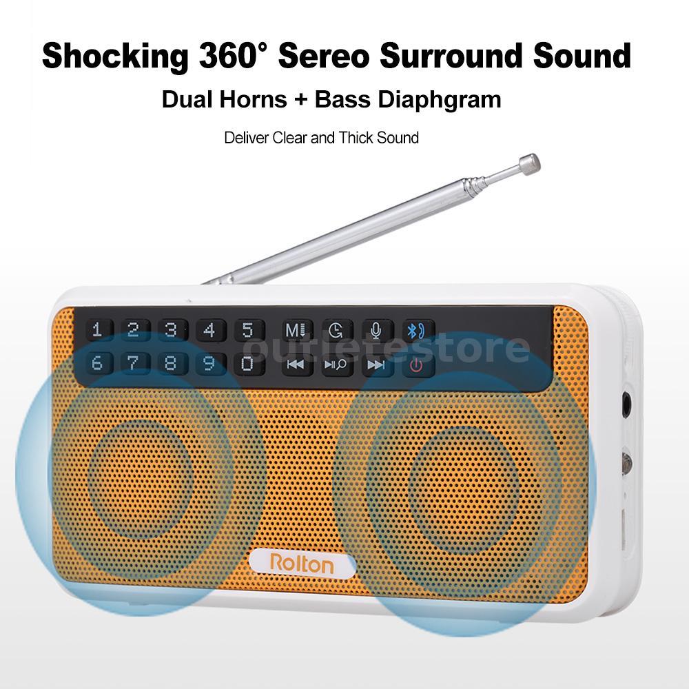 Rolton E500 Wireless Bluetooth Speaker 6W HiFi Stereo Music Player Portable C5E0