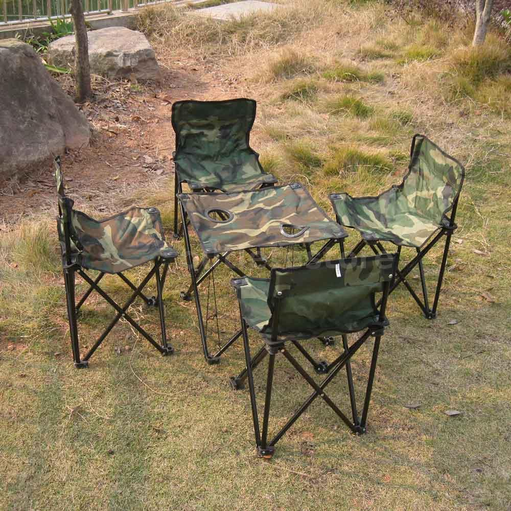 Camping Folding Table And Chairs Set Outdoor Camping Picnic Fishing Folding Foldable Table And 4 Chair